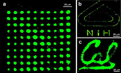 These highly-magnified images are composed of tiny nanoparticles produced by a NanoPen