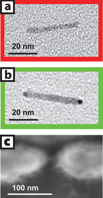 Image (a) is a transmission electron micrograph of a cadmium-selenide nanocrystal before gold tip growth in solution and image (b) is after. Image (c) is a scanning electron micrograph of a single nanocrystal two-terminal device.
