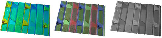 Mountains® 5.1: multi-channel information on a surface including from left to right: topography (Z), color (RGB) and intensity (I)