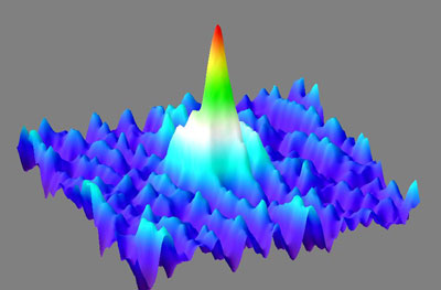 Like a giant wave in the midst of a sea of gaseous calcium atoms, the Bose-Einstein condensate soars