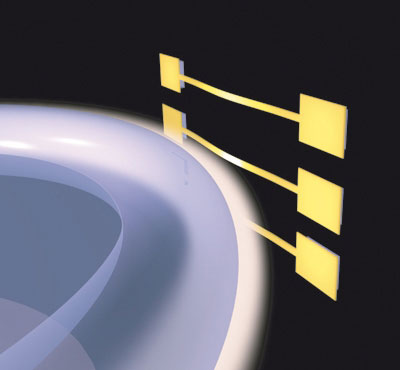 nano-strings (yellow) interact with the optical near-field which leaks out of the toroid glass-resonator