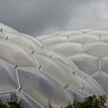 the islands of carbon form geodesic dome-like structures resembling Cornwall's Eden Project