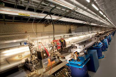Thirty-three LCLS undulator magnets create intense X-ray laser light from a pulse of electrons traveling 99.9999999 percent the speed of light.