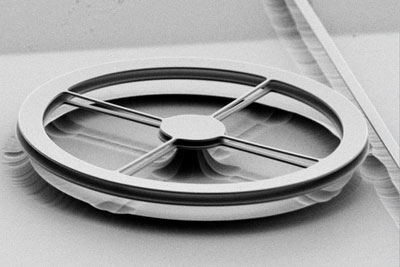 Scanning electron micrograph of two thin, flat rings of silicon nitride, each 190 nanometers thick and mounted a millionth of a meter apart