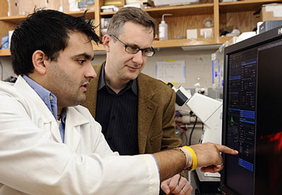 Doctoral student Shyam Khatau, left, and Denis Wirtz, director of the Johns Hopkins Engineering in Oncology Center