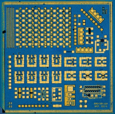 A test chip used to evaluate the performance of indium gallium arsenide in logic circuits