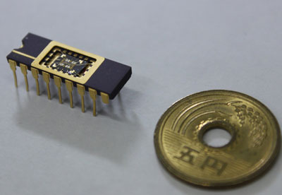 photograph of the chip in which a high-sensitivity detector is mounted