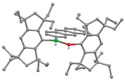 Molecular structure of the Si=P double-bond compound containing the anthryl aromatic group on the silicon atom (Si), and showing the high coplanarity of the pi-framework enforced by the two perpendicularly fixed bulky 'Rind' groups