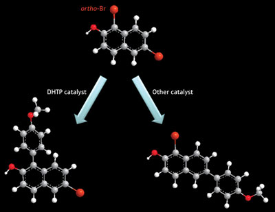 A new molecular ligand, called DHTP, helps selectively generate ortho-coupled aromatic rings (left) instead of the usual coupled product (right)