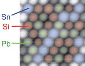 Atomic force microscopy can distinguish between atoms of tin, silicon and lead