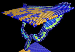 Two parallel atomic planes representing 'twin boundaries' between copper crystal grains