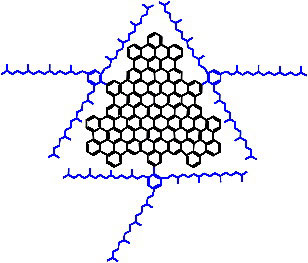 A 2-D view of a graphene sheet (black) and attached sidegroups (blue)