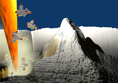 3D rendered image showing a heated nanoscale silicon tip, borrowed from atomic force microscopy, that is chiselling away material from a substrate to create a nanoscale replica of the Matterhorn