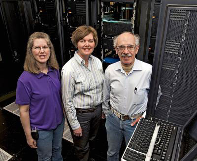 Iowa State University and Ames Laboratory researchers, left to right, Theresa Windus, Monica Lamm and Mark Gordon