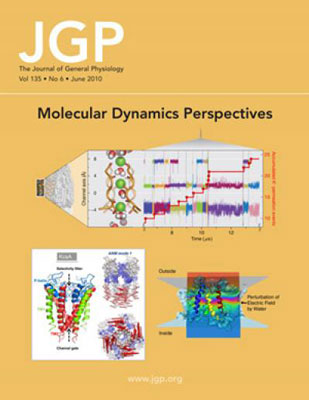 The June cover of the Journal of General Physiology includes a composite of figures from the Perspectives on molecular dynamics and computational methods