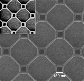 A fragment of a superconducting thin film patterned with nano-loops measuring 150 nanometers on a side (small) and 500 nanometers on a side (large), where the nano wires making up each loop have a diameter of 25 nanometers