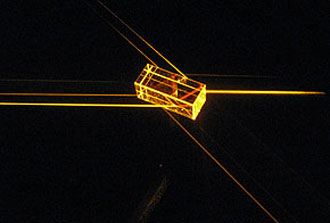 Light passes through the crystal in the quantum memory experiment.