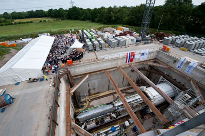 First tunnel and borer christening ceremony on the European XFEL construction site Schenefeld