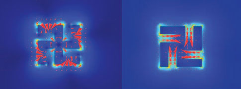 Optical forces induced on a light mill motor by an illumination wavelength of 810 nanometers (left) and 1,700 nanometers