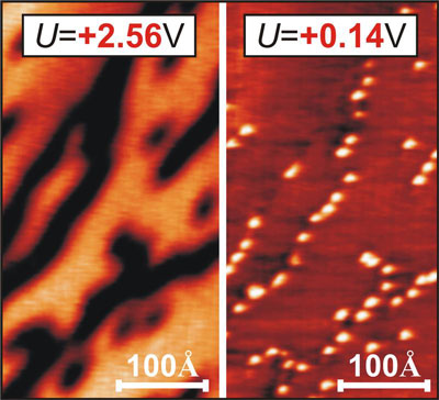 Microscopical image of a graphene layer on a nickel substrate