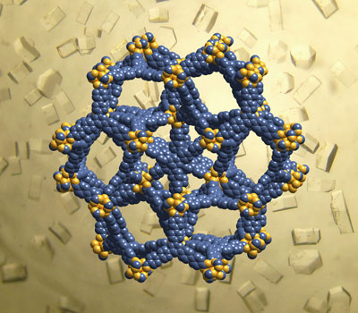 Crystal structure of MOF-200, in UCLA's blue and gold