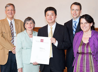 Professor Dr Laurens Molenkamp, Vice President Professor Dr Mechthild Dreyer, Award Winner Professor Dr Shoucheng Zhang, Professor Dr Immanuel Bloch and Professor Dr Claudia Felser, Director of the MAINZ Graduate School