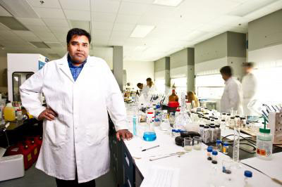 Professor Sudipta Seal works in his lab at the University of Central Florida