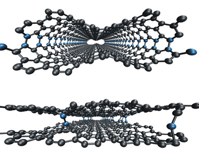 simulations demonstrate how loops (seen above in blue) between graphene layers can be minimized using electron irradiation