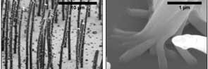 Close up, and closer up (right), on the nanorods