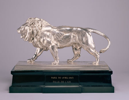 Antoine-Louis Barye, Walking Lion; Striding Lion (Racing Trophy), 1865, silver on marble plinth