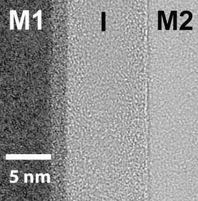 This image of an asymmetric MIM diode reflects a major advance in materials science that could lead to less costly and higher speed electronic products