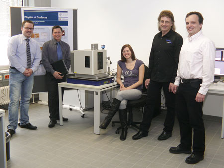 Dr Lars Niemann, CSI Research Coordinator; Benjamin Holmes, Sales Manager for Atomic Force; Agnieska Voss, PhD student; Friedhelm Freiss, Service Manager for Atomic Force; and Robert Stark, Professor of Physics at Surfaces at the CSI Darmstadt