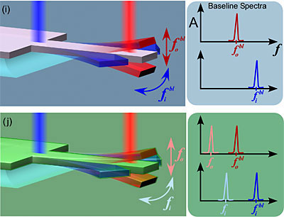 measurement of in-plane and out-of-plane vibrational modes of a silicon cantilever