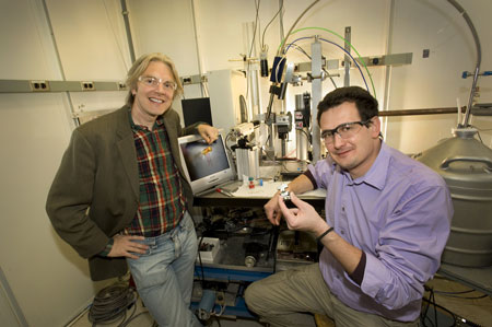 Simon Billinge (left) and Emil Bozin (right) at beamline X17A at the National Synchrotron Light Source
