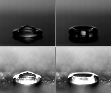 images of water droplets striking a hydrophobic surface that is dry (top) or frosted
