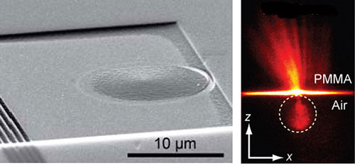 scanning electron micrograph of a plasmonic Luneburg lens on a gold film