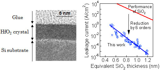 Electron micrograph of high-permittivity crystalline film