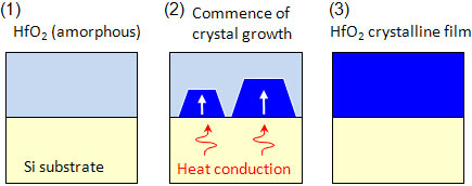 Synthesis of the developed high-permittivity crystalline film (HfO2)