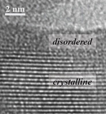 transmission electron microscope image of a titanium dioxide nanocrystal after hydrogenation reveals engineered disorder on the crystal's surface, a change that enables the photocatalyst to absorb infrared light