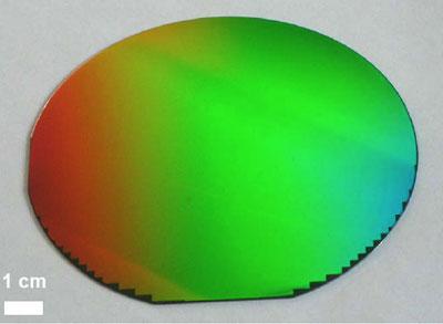 Photograph of a 4-inch wafer patterned uniformly with the PHABLE technology