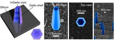 nanolasers grown directly on a silicon surface
