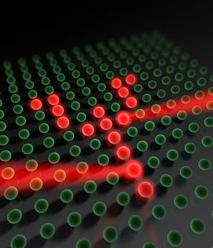 With the help of a laser beam, the scientists could address single atoms in the lattice of light and change their spin state