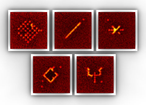 The atomic patterns each consist of 10 - 30 single atoms that are kept in an artificial crystal of light