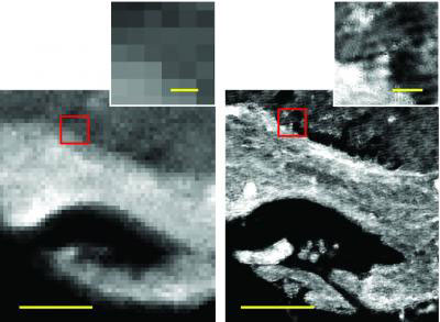 IRENI-generated images (right) are 100 times less pixelated than in those from conventional infrared imaging (left)