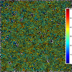 orientation map of a spin-cast array of FePt nanoparticles.