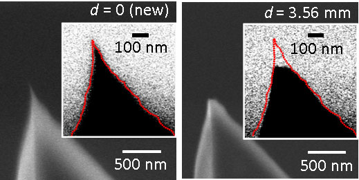 tip of an atomic force microscope