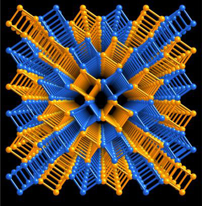 3-D image illustrates a lattice composed of columns of squares that represent repeating molecular structures