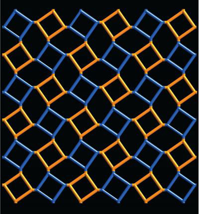 2-D image illustrates a lattice composed of two repeating squares that represent molecular structures