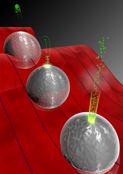 Mechanism of the acceleration of electrons near silica nanospheres