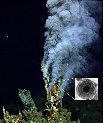 A plume at a deep-sea hydrothermal vent.